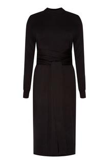 Черное платье с поясом Proenza Schouler