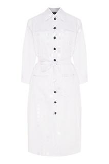Белое платье в горошек с поясом Kuraga