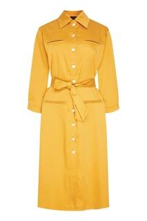Желтое платье с поясом Kuraga