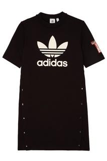 Черное платье с логотипом Adidas