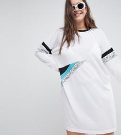 Платье-футболка колор блок с кружевной вставкой ASOS DESIGN Curve - Мульти