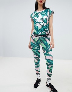 Леггинсы с логотипом и пальмовым принтом adidas Originals X Farm - Мульти