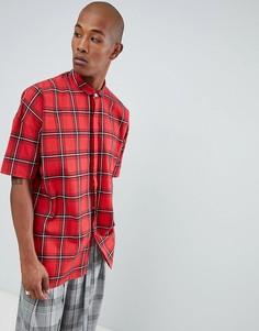 Рубашка с коротким рукавом и принтом тартан Sixth June - Красный