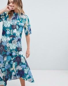 Платье миди на пуговицах с цветочным принтом Monki - Мульти