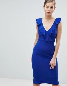 Синее платье миди с оборками AX Paris - Синий