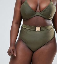 Плавки бикини цвета хаки с завышенной талией и поясом Wolf & Whistle Curve - Зеленый