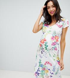 Платье А-силуэта с V-образным вырезом и цветочным принтом Bluebelle Maternity - Мульти