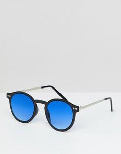 Черные круглые солнцезащитные очки с синими стеклами Spitfire - Черный
