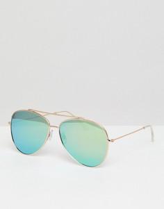 Солнцезащитные очки-авиаторы в золотистой оправе с зеркальными стеклами South Beach - Черный