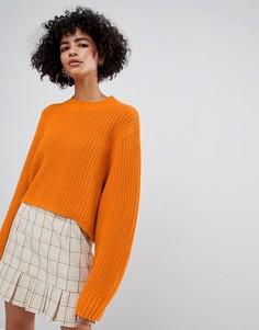 Укороченный оранжевый джемпер в толстый рубчик Weekday - Оранжевый