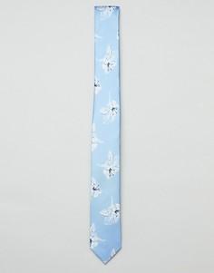 Галстук с цветочным принтом Jack & Jones - Синий