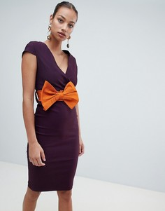 Платье-футляр миди с бантом Vesper - Фиолетовый