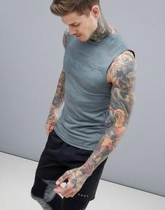 Бесшовная жаккардовая футболка без рукавов с камуфляжным принтом ASOS 4505 - Серый