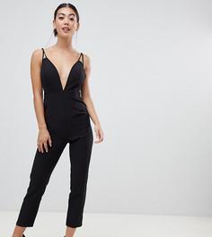 Комбинезон с глубоким вырезом и широкими брюками со складками ASOS DESIGN Petite - Черный
