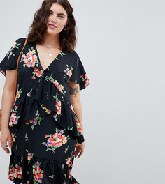 Чайное платье миди с кейпом и цветочным принтом ASOS DESIGN Curve - Мульти