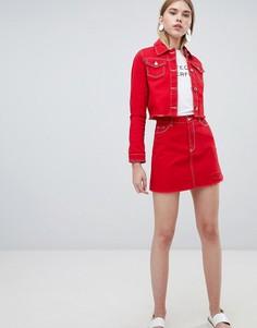 Джинсовая юбка-трапеция с необработанным краем Urban Bliss - Красный