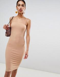 Платье миди в рубчик на бретельках Boohoo - Бежевый