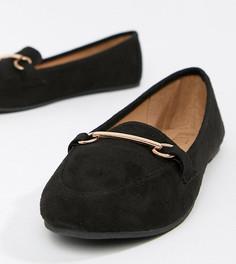 Черные туфли на плоской подошве для широкой стопы с отделкой RAID Viera - Черный