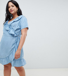 Синее джинсовое платье с запахом и оборками ASOS DESIGN Curve - Синий