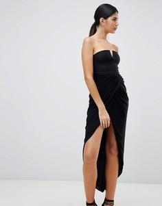 Платье миди с драпированным запахом Rare London - Черный