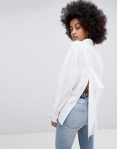Поплиновая рубашка с отделкой спереди Cheap Monday Direct - Белый
