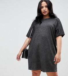 Платье-футболка с отворотами на рукавах ASOS DESIGN Curve - Черный
