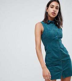 Вельветовое платье без рукавов Boohoo - Зеленый