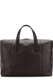 Кожаная дорожная сумка на молнии с плечевым ремнем Giorgio Armani