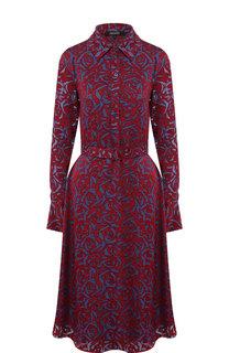 Приталенное платье из вискозы с поясом и принтом Poustovit