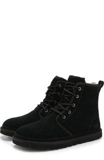 Замшевые ботинки на шнуровке с внутренней меховой отделкой UGG