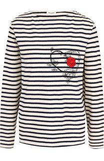 Хлопковый пуловер в полоску с декоративной вышивкой Saint Laurent