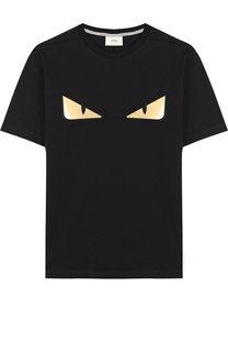 Хлопковая футболка с аппликациями Fendi