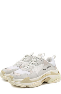 Кожаные кроссовки Triple S с текстильной отделкой Balenciaga