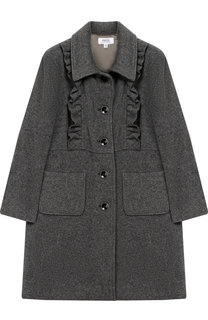 Однобортное пальто свободного кроя с оборками Aletta