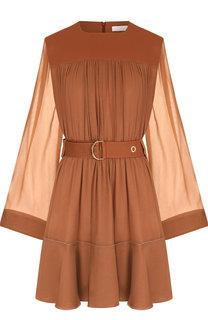 Мини-платье c полупрозрачными рукавами и поясом Chloé