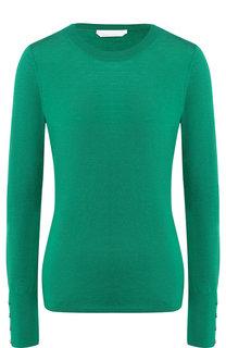 Однотонный шерстяной пуловер с круглым вырезом BOSS