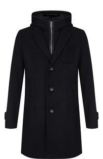 Однобортное пальто с капюшоном из смеси шерсти и вискозы Emporio Armani