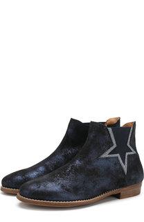 Кожаные ботинки с металлизированной отделкой и эластичной вставкой Beberlis