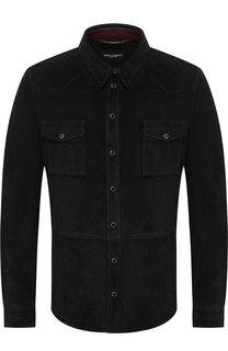 Кожаная рубашка на кнопках Dolce & Gabbana