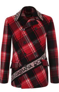 Укороченный шерстяной бушлат с логотипом бренда Dolce & Gabbana