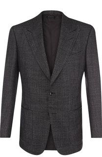 Однобортный пиджак из смеси кашемира и шелка Tom Ford