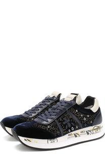 Комбинированные кроссовки Conny с заклепками на шнуровке Premiata