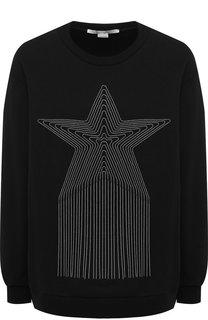 Хлопковый пуловер с круглым вырезом и декоративной отделкой Stella McCartney