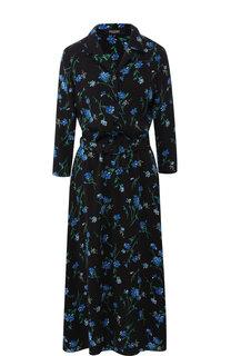 Платье-миди с поясом и принтом Poustovit