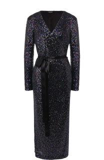 Платье-миди с пайетками и контрастным поясом Poustovit
