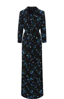 Платье-макси с поясом и принтом Poustovit
