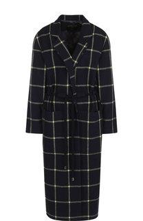 Шерстяное пальто в клетку с поясом и карманами Mother Of Pearl