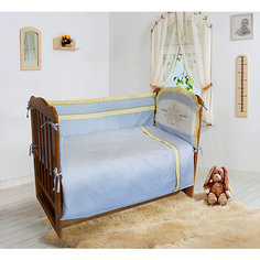 """Комплект постельного белья из 6 предметов Soni Kids """"Лунная прогулка"""" голубой в горошек"""