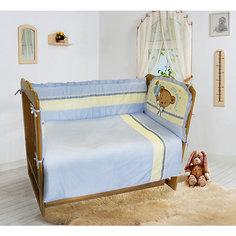 """Комплект постельного белья из 6 предметов Soni Kids """"Мишка Джентельмен"""" голубой в горошек"""