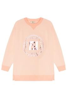 Розовый свитшот с принтом и аппликацией Fendi
